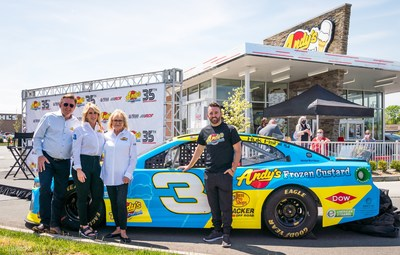 Andy's Frozen Custard, Richard Childress Racing and Texas Motor Speedway Announce Multi-Year Partnership (From left to right) Andy Kuntz, CEO & owner of Andy's frozen Custard; Dana Kuntz, owner of Andy's Frozen Custard; Carol Kuntz, founder of Andy's Frozen Custard; and Austin Dillon, two-time NASCAR champion, Daytona 500 Champion, Fall 2020 Texas Motor Speedway NASCAR Cup Series race winner and driver of the No. 3 Chevy