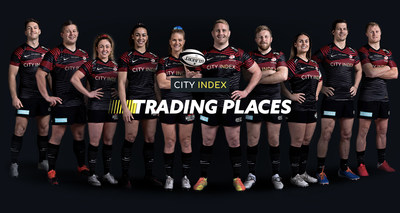 The Saracens Players who will be competing for the charity of their choice in the City Index Trading Places Competition