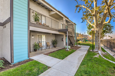 Private balconies at The District Apartment Homes in Colton, CA, newly acquired by MG Properties Group.