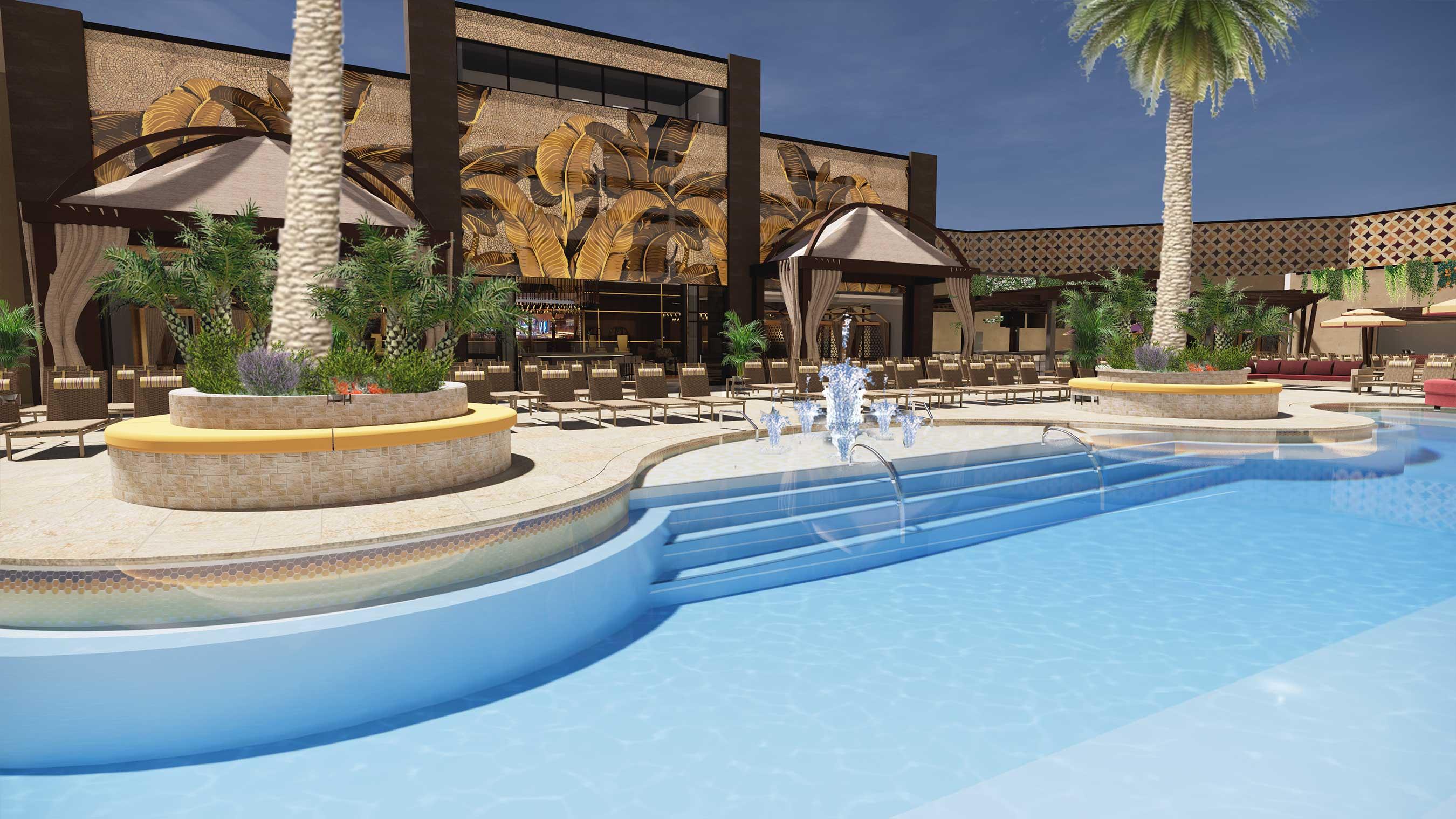 Rendering of Azilo Ultra Pool, opening at SAHARA Las Vegas summer of 2021