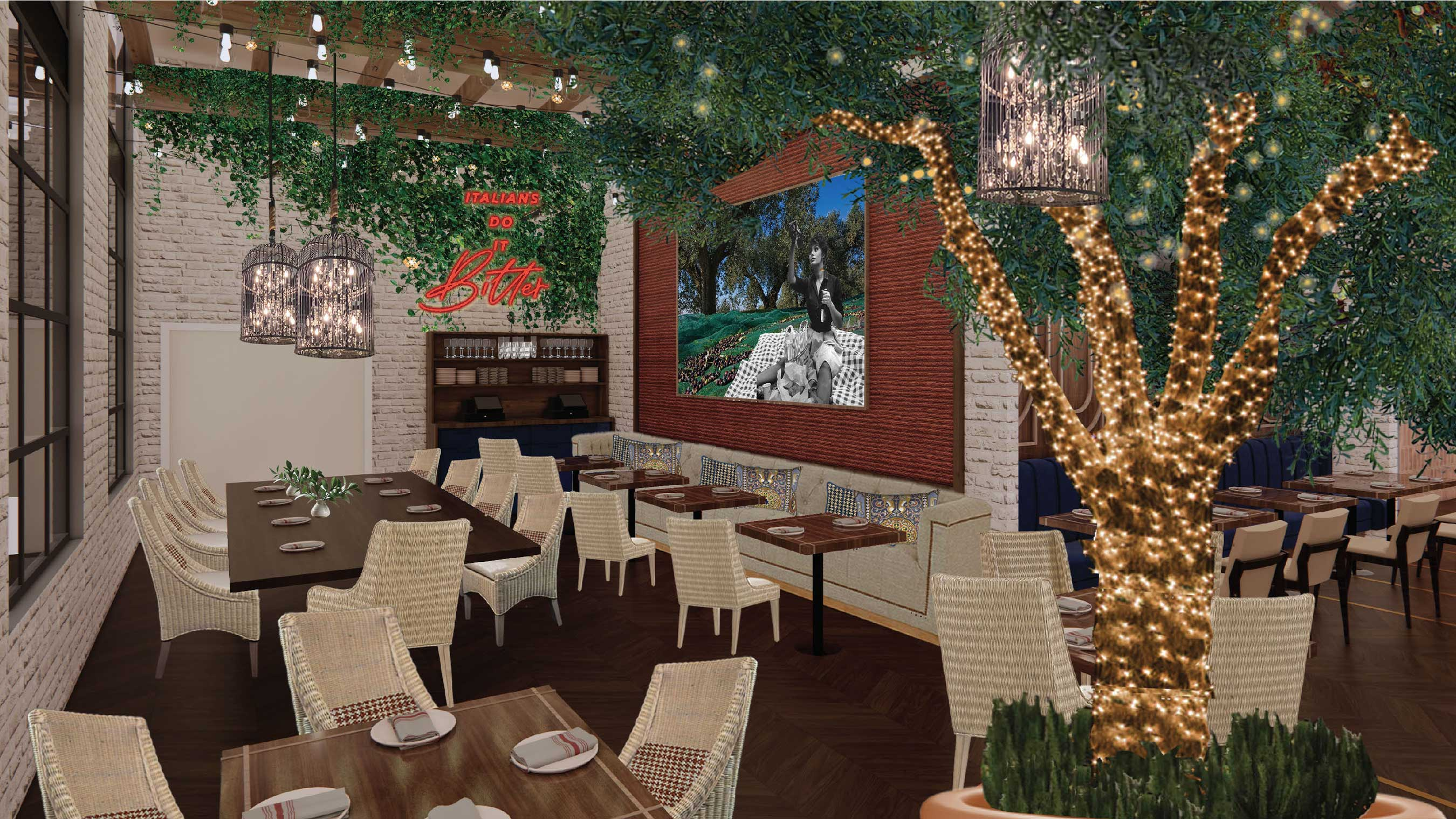 Rendering of Ballo, a new Italian dining concept from Chef Shawn McClain opening at SAHARA Las Vegas late 2021