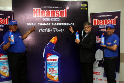 L-R: Mr. Ita Ekpenyong, Sales Director, TGI Distri Limited; Mr. Sunil Sawhney, Managing Director, TGI DISTRI Limited; Mr Chander Rathore, Sales Director, TGI DISTRI Limited at the launch of Kleansol Toilet Cleaner in Lagos recently.