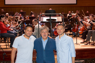 Dan Yessian (middle) with his sons Michael (left) and Brian (right) in Armenia for the performance of Dan's classical composition, An American Trilogy.
