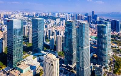 Skyscrapers in Xiamen, a coastal city in East China's Fujian province.