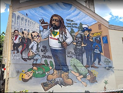 """NJWeedman's favorite SANOism is the mural outside of NJWeedman's Joint in Trenton, """"The Battle of Trenton 2,"""" It's a pictorial depiction of how he won his fight against the prosecutor's office in Trenton, NJ for unfair charges filed against him. (note: https://nj1015.com/nj-weedman-promises-to-give-prosecutor-legal-ass-whooping-after-major-bust."""")"""
