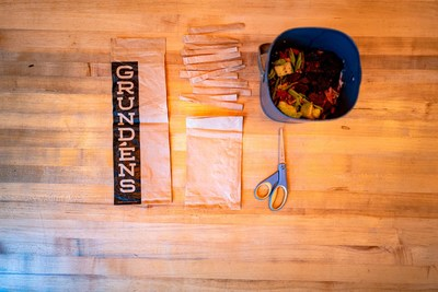 Grundens compostable bag can be cut into strips and can be thrown into a simple home composter.