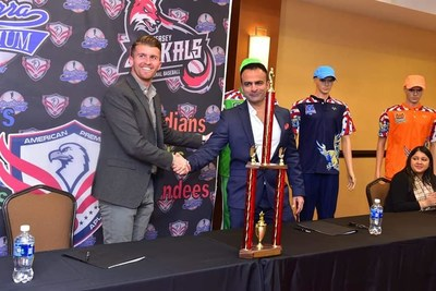 Historic moment! Jay Mir signs an exclusive deal with Gill Addeo (Jersey Jackals) to host American Premiere League cricket tournament at the Yogi Berra Stadium in New Jersey, USA.