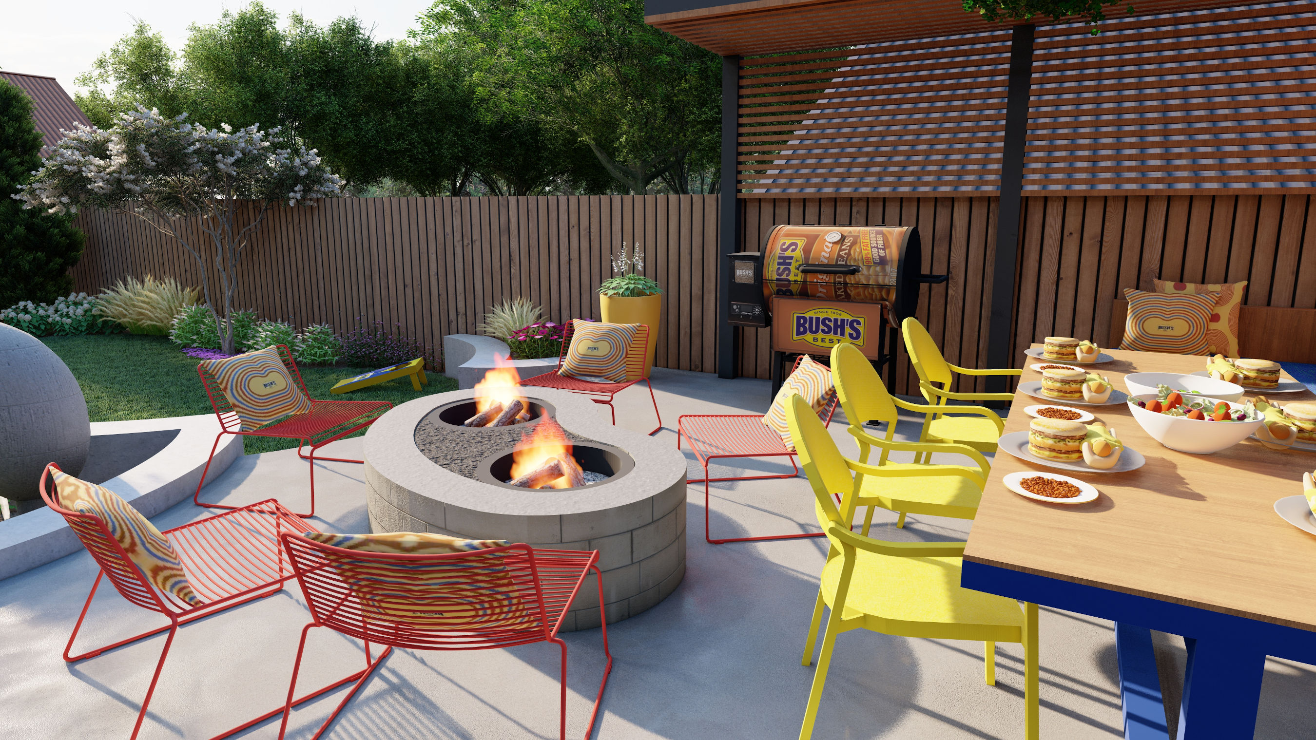 As an unexpected twist on the heart of beautiful gatherings, Bush's will give one lucky winner a total Bush's Bean-themed backyard makeover designed by Mina, including a unique, one-of-a-kind Bean Pit – perfect for grilling or summer ambience.