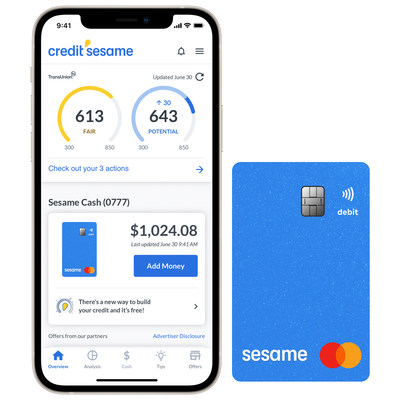 Credit Sesame's credit builder banking service, Sesame Cash