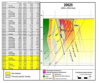 Figure 2: Complete drill section 20625 spanning an 800 m x 800 m area with highlighted assays. (CNW Group/Great Bear Resources Ltd.)