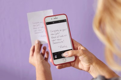 Sign & Send allows people to add a handwritten message to a real Hallmark card using their phone.