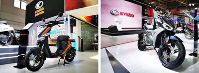 """i-SK: The first jointly developed Ionex electric scooter by KYMCO and Super SOCO"""", """"F9: The first jointly developed Ionex electric scooter by KYMCO and FELO Technology (PRNewsfoto/KYMCO)"""