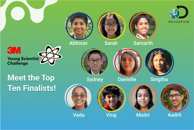 Today, 3M and Discovery Education announced the top 10 finalists in the 2021 3M Young Scientist Challenge (Photo Credit: 3M).
