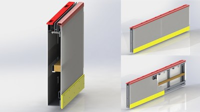The reimagined dasher board design has increased flexibility and movement with a new facing material comprised of Covestro's Makrolon® polycarbonate sheeting over an aluminum frame with a polyurethane foam dampening element. This polyurethane foam was made with Covestro raw materials. Renderings courtesy of Athletica Sport Systems.