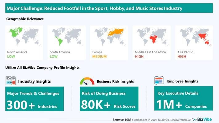 Snapshot of key challenge impacting BizVibe's sport, hobby, and music stores industry group.