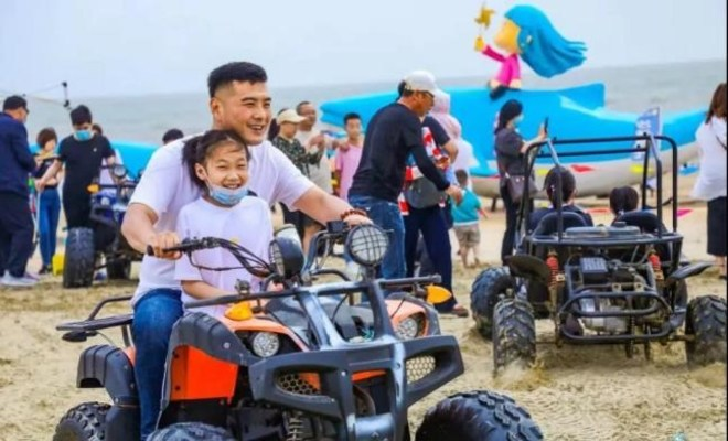 Beach motorcycle riding (PRNewsfoto/The People's Government of Rushan)