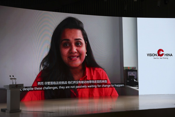 Jayathma Wickramanayake, the United Nations secretary-general's envoy on youth, attends the Vision China event via a video link. [Photo by Feng Yongbin/China Daily]