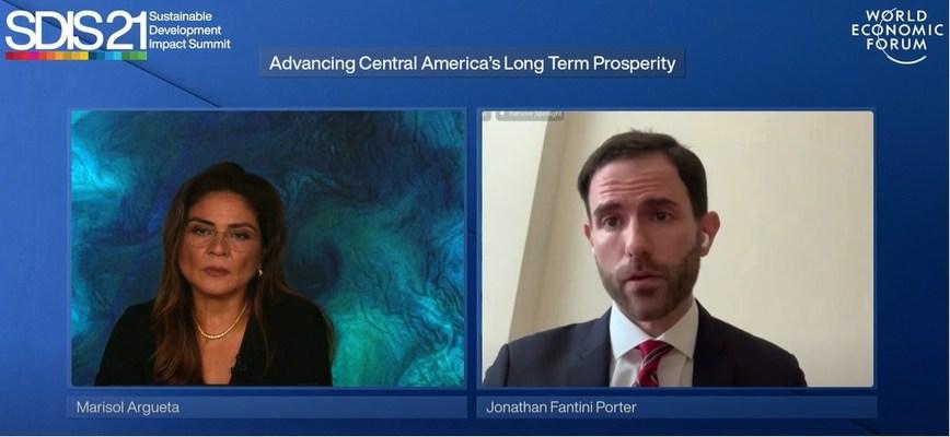 World Economic Forum Executive Committee Member Marisol Argueta de Barillas, Partnership for Central America Executive Director, Jonathan Fantini Porter